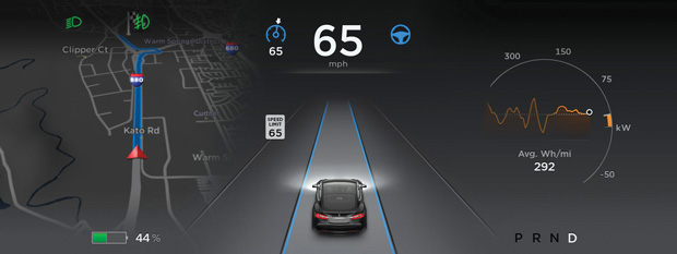 With self-driving cars, drivers can gather analytics about their route and conditions. Image courtesy of Tesla.