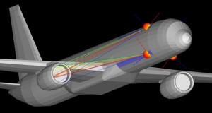Version 2.8 of Remcom's XGtd high-frequency ray-based electromagnetic simulation software introduces new co-site analysis features. In this example, co-site interference simulation finds the strongest propagation paths between two patch antennas mounted on the exterior of a Boeing 757 jetliner. Image courtesy of Remcom Inc.
