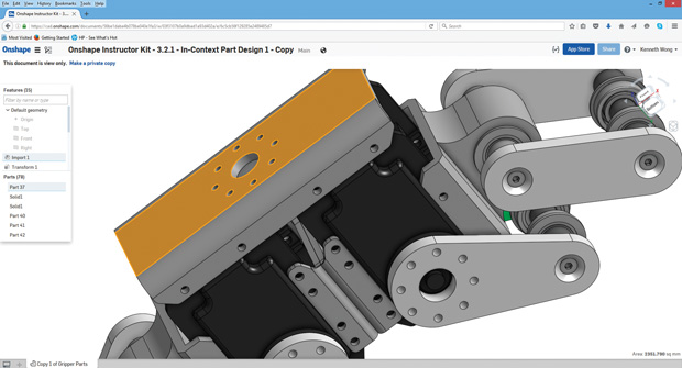 Because Onshape's parametric CAD program runs from a browser, it eliminates the need for a high-end system traditionally associated with CAD software. Image courtesy of Onshape.