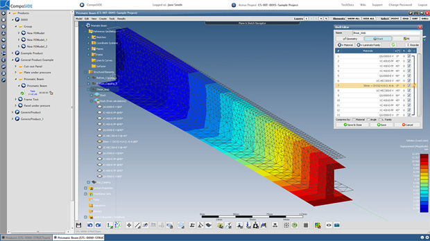 CompoSIDE Ltd. has released version 2.8.2 of its CompoSIDE integrated suite of web-based design, analysis and data management tools for composites design and as well as applications using metal and other materials such as wood and plastics. Image courtesy of CompoSIDE Ltd.