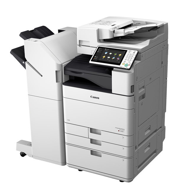 Canon Solutions America's imageRUNNER ADVANCE C5560i multifunction color system, shown here with the External Finisher. Image courtesy of Canon Solutions America.
