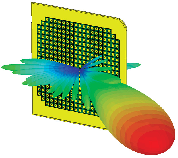 A patch array antenna simulated in fine detail with the CST Transient Solver from Computer Simulation Technology (CST). Image courtesy of CST.