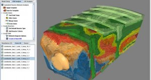 ANSYS Chemkin-Pro supports ERNs (equivalent reactor networks) that allow simulation of real-world combustors, burners and chemical reactors, enabling efficient prediction of emissions with detailed chemistry. Here, CFD (computational fluid dynamics) results are displayed with an ERN overlay that captures the dominant flow patterns and re-circulation zones. Image courtesy of ANSYS Inc.