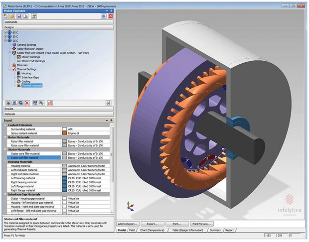 Electromagnetic analysis of a 2010 Toyota Prius 8-pole rotor, 48-slot stator interior permanent magnet (IPM) motor, analyzed with Infolytica MotorSolve simulation software. Image courtesy of Infolytica.