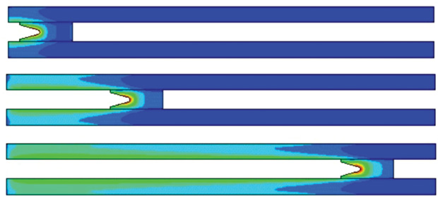 Model of a rail gun as analyzed with LS-DYNA EM module from Livermore Software Technology Corporation. Current flowing between the rails and projectile generates a magnetic field (fringes) and Lorentz forces that accelerate the projectile. Image courtesy of LSTC.