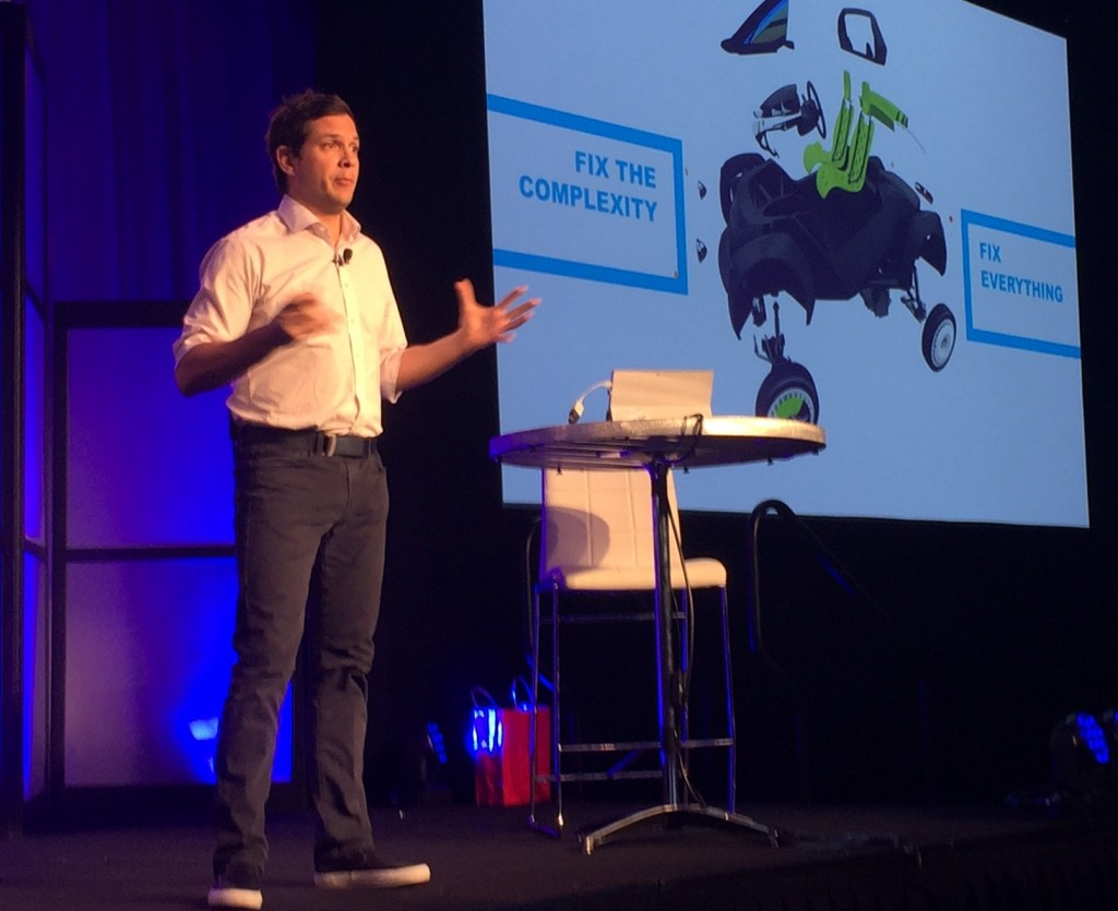 Justin Fishkin, Chief Strategy Officer, Local Motors speaks on the main stage at Solid Edge University (SEU16)