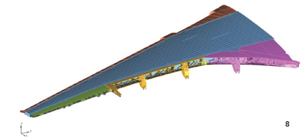 Finite element model of A350-1000 XWB left wing excluding control surfaces. Image courtesy of Airbus.