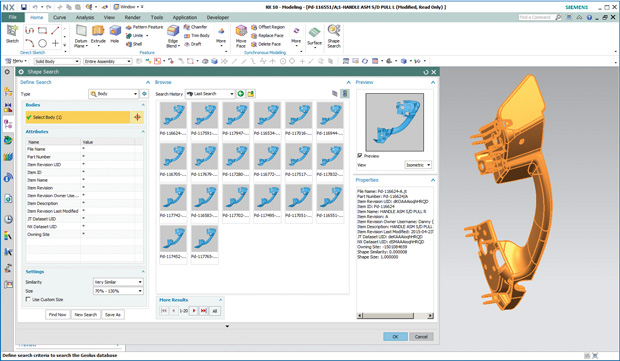 The Geolus shape search client is available in web browsers, Active Workspace, NX and partner applications. Image courtesy of Siemens PLM Software.