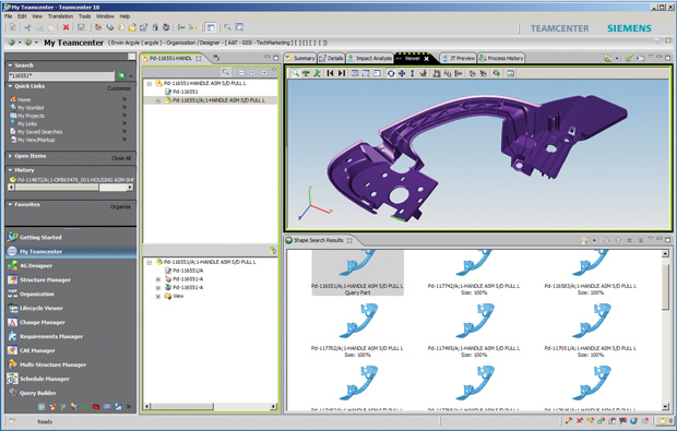 Siemens' Geolus Search, seen here in Teamcenter, can quickly locate similar parts. Image courtesy of Siemens PLM Software.