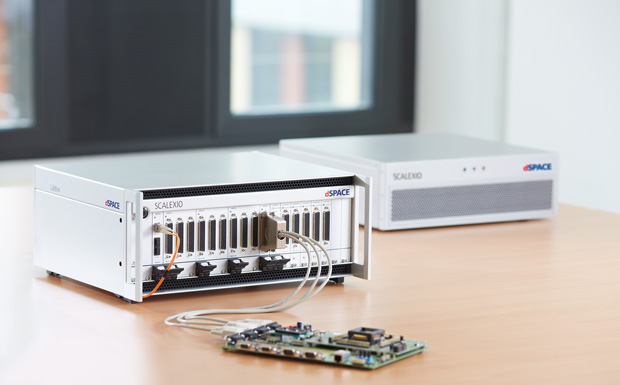 The new SCALEXIO LabBox from dSPACE is a compact, desktop-sized system for early function testing of real-time hardware-in-the-loop (HIL) applications when coupled with a dSPACE SCALEXIO Processing Unit. The SCALEXIO LabBox can be fitted with up to 18 I/O cards. Image courtesy of dSPACE Inc.