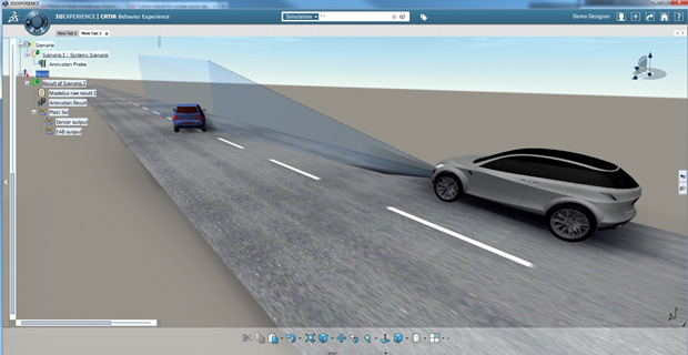 Autonomous Emergency Braking System simulation with 3DEXPERIENCE platform. Image courtesy of Dassault Systèmes.
