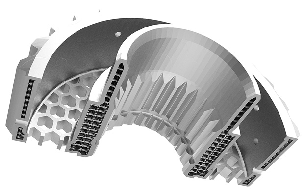 Example of a complex part with internal structures that can be built on the MetalFab1 from Additive Industries. This AM equipment includes automatic powder-removal and in-line stress-relieving heat treatment--another angle to offering hybrid functions in a single AM system. Image courtesy Additive Industries.