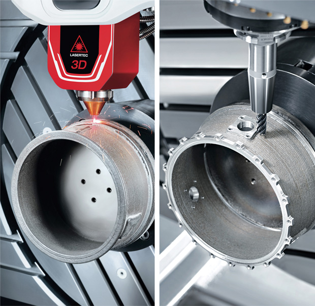 Example of building a part with laser deposition, then machining the features and surface finish, all done on the DMG MORI LASERTEC 65 3D hybrid additive manufacturing system. The 5-axis operation allows metal deposition to continue as the part is re-oriented. The image on the right shows that a second material (bronze) was deposited before the final machining. Image courtesy of DMG MORI USA.