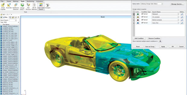 PTC Creo View offers a way to display PLM data from Windchill as color-coded items. Image courtesy of PTC.