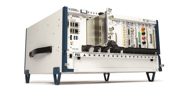 The PXIe-5164 oscilloscope is shown here prior to insertion into an NI PXIe-1086, an 18-Slot 3U PXI Express Redundant Chassis. To the oscilloscope's left is the PXIe-8880, an Intel Xeon processor-based eight-core PXI Express controller. Image courtesy of National Instruments.