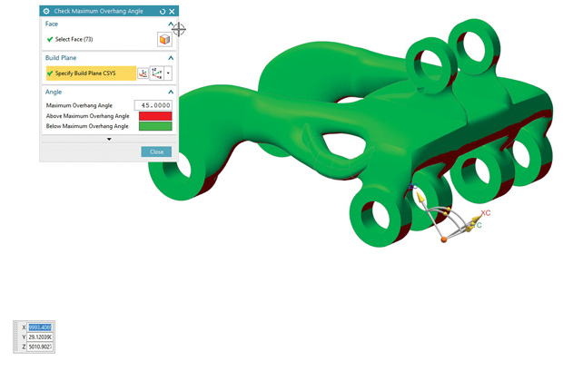 NX CAD model displaying overhang angles as color-coded regions, based on 3D printer build orientation (usually, the Z axis). The visualization identifies areas that may need support of post-print clean up. Image courtesy of Siemens PLM Software.