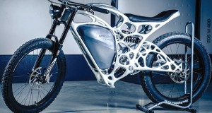 The Light Rider motorcycle, the result of a partnership between Altair and APWorks (an Airbus subsidiary) has a hollow, topology optimized, 3D-printed frame that reduces weight by about 30% and allows wiring to be hidden inside the frame. Image courtesy of APWorks.