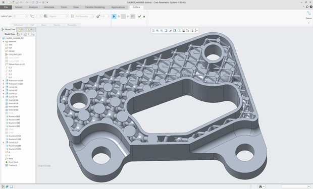 Variable-size internal lattice structure design for an additively manufactured caliper-hanger, created with Creo 4.0 from PTC. Image courtesy of PTC.
