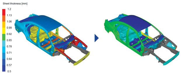 Size optimization with Tosca Structure done on a vehicle model developed by The National Crash Analysis Center (NCAC) of The George Washington University under a contract with the FHWA and NHTSA of the U.S. Dept. of Transportation. Image courtesy of Dassault Systèmes.