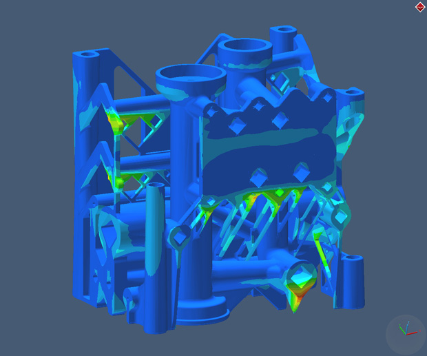 Simulation of distortion in an additively manufactured metal manifold, performed with MSC Software Simufact Additive. Image courtesy of MSC Software Simufact.