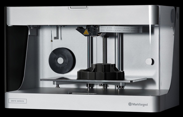 Markforged recently introduced its Onyx Series of desktop 3D printers. Onyx Series printers work with the company's Onyx filament, which, Markforged says, consists of chopped carbon fiber within nylon and provides twice the strength and stiffness of pure plastic. Image courtesy of Markforged Inc.