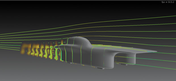 The Star-CCM+ CFD tool is an aerodynamics staple in the UofM Solar Car team's toolbox. Image courtesy of Michigan Engineering.