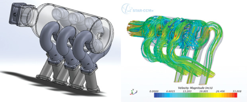 Figure 3: Team 187 – CFD analysis of automotive V6 intake manifold using a software container with STAR-CCM+ in the Azure Cloud. Left: manifold geometry. Right: velocity streamlines from CFD simulation.