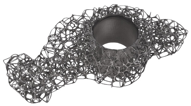 Rendering of internal lattice structure of a metal AM part, stochastically generated with Element software from nTopology. Image courtesy of nTopology.