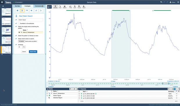With Seeq, design engineers can monitor data coming from plant assets and combine it with other data like customer or quality information to practice prescriptive maintenance and maximize uptime. Image courtesy of Seeq.