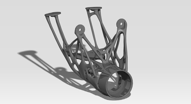 Rendering of new steering column after refinement with PolyNURBS. Image courtesy of solidThinking.