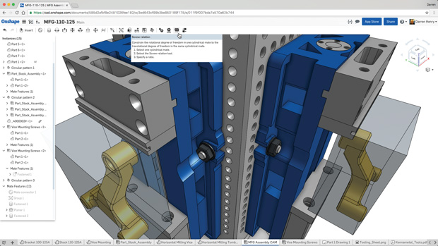 Commands and hints appear in context throughout Onshape. Image courtesy of Onshape.