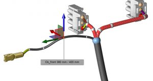 In EPLAN Harness proD v2.6 wires with predefined length can now be routed in an intuitive fashion, according to EPLAN Software & Services. During the design process, the current as well as the targeted length are depicted exactly, enabling users to see at a glance how the wires can be routed optimally. Image courtesy of EPLAN Software & Services LLC.