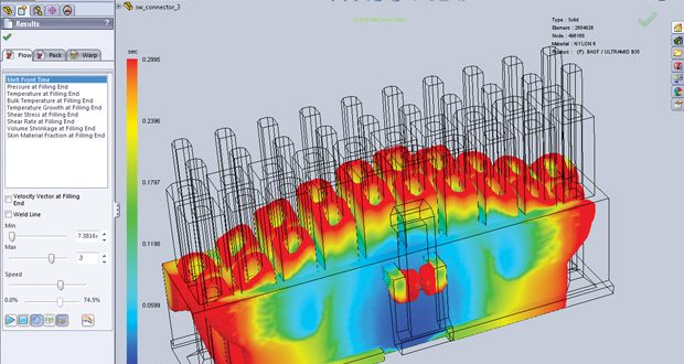 Simulation of filling an injection-molded multi-pin electronics connector, performed in SOLIDWORKS Plastics from Dassault Systèmes SOLIDWORKS. Image courtesy of Dassault Systèmes.