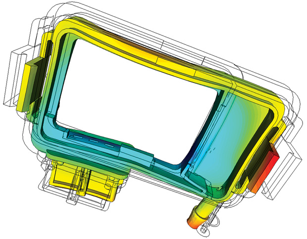 Shrinkage and warpage of an injection-molded part (after cool-down to ambient temperature), as simulated with Simcon's Cadmould 3D-F line of injection-molding software products. Image courtesy of Simcon.