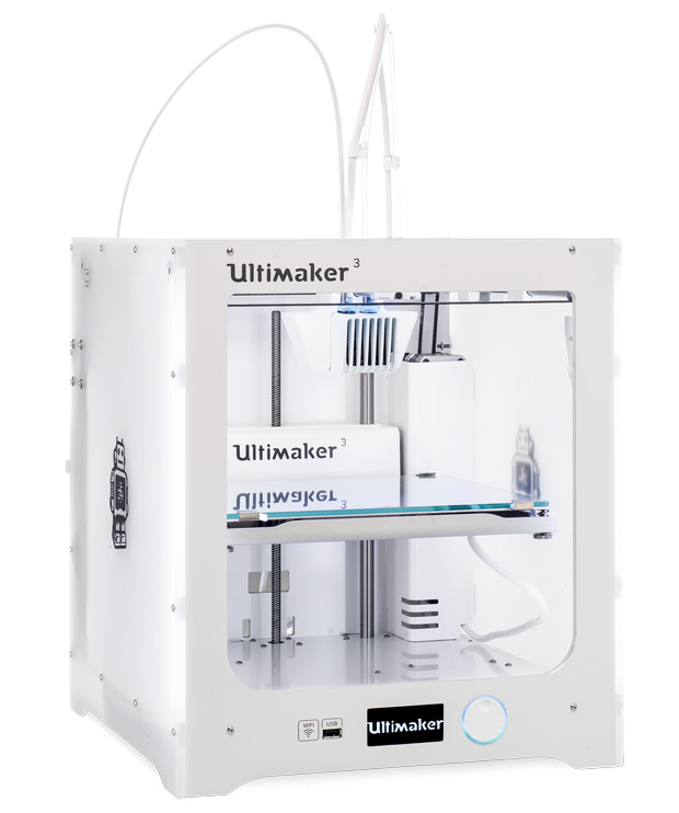 Ultimaker's new generation of desktop additive manufacturing systems, the Ultimaker 3 are designed to provide the flexibility to make concept designs through to end-use parts. Image courtesy of Ultimaker B.V.