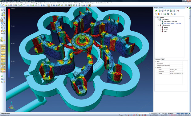 Thermal conformal-cooling analysis performed with VISI injection-molding simulation software from Vero Software. Image courtesy of Vero Software.