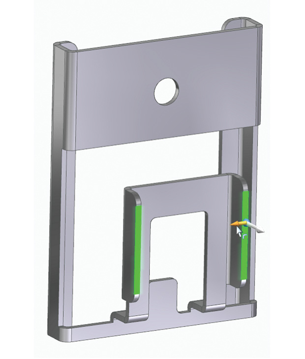 Siemens Solid Edge uses handles rather than commands, where possible. Here, dragging the arrow will create a flange on this sheet metal part, without having to invoke a command. Image courtesy of Siemens Mainstream Engineering.