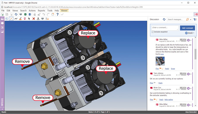 Aras Innovator PLM software includes Visual Collaboration, a browser-based environment for model and document review. Image courtesy of Aras Software.
