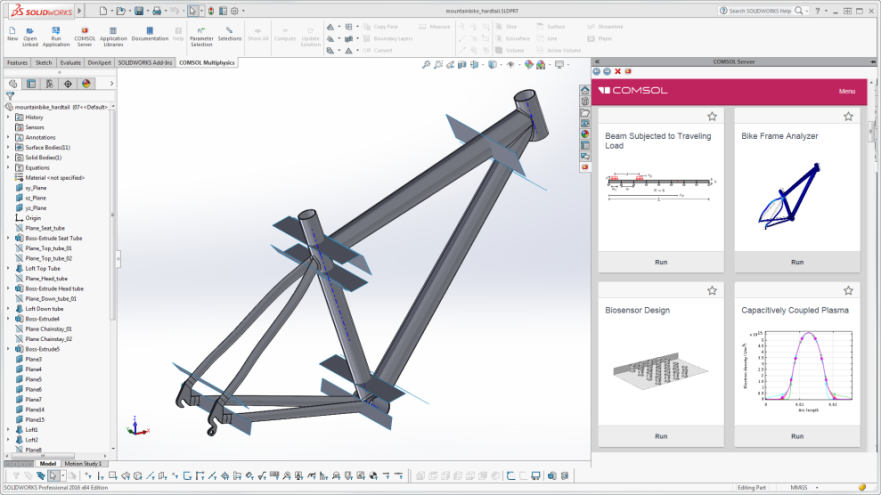 The COMSOL Multiphysics ribbon tab and embedded COMSOL Server interface in the SOLIDWORKS user interface via LiveLink. Image courtesy of COMSOL.