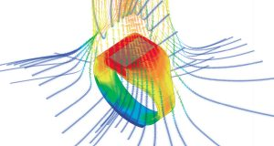 With Mentor Graphics FloTHERM XT, you can perform airflow, temperature and heat transfer in components, boards and complete systems. Shown here is a computational fluid dynamics analysis of a smartwatch in FloTHERM. Image courtesy of Mentor Graphics.