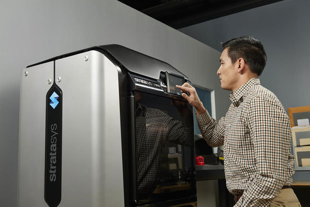 Users can operate Stratasys F123 Series 3D printers remotely from any networked computer in a shared workgroup setting, and they can also monitor build progress from their portable devices. For walk-up operations, Stratasys F123 Series 3D printers have a touch-screen user interface. Image courtesy of Stratasys Ltd.