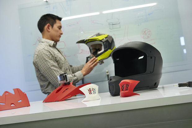 These motorcycle helmet prototypes were produced on the new Stratasys F370 3D printer at the Center for Advanced Design where they're being tested for design validation. Image courtesy of Stratasys Ltd.