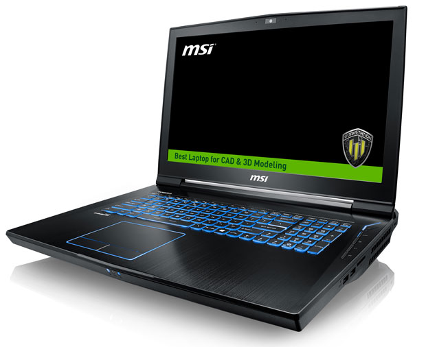 MSI's new WT73VR mobile workstation, a desktop workstation replacement, can handle demanding CAD, CAM and virtual reality applications. Image courtesy of MSI Computer Corp.