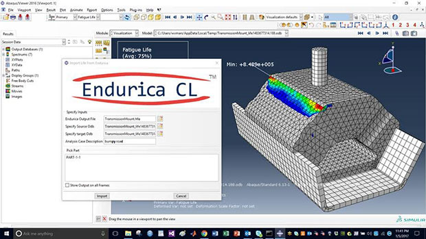 The Endurica fatigue analysis solver is FEA (finite element analysis) code neutral, enabling it to work with widely deployed FEA systems such as Abaqus/CAE from Dassault Systèmes SIMULIA as shown here. Image courtesy of Endurica LLC.