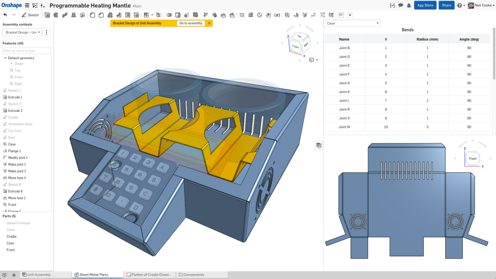 Onshape says it will offer sheet metal designers and manufacturers simultaneous and synchronized flat, folded and tabular views. Image courtesy of Onshape.