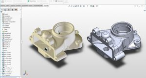 XTract3D, a cross-sectioning toolset for sketching CAD models based on 3D scan data, works from within the SOLIDWORKS design environment. Image courtesy of Polyga Inc.