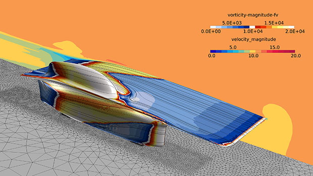 This simulation using AcuSolve's turbulence models depicts surface vorticity contours of a flow transitioning from laminar to turbulent on a solar race car. Model courtesy of University of Michigan Solar Car Team. Image courtesy of Altair Engineering Inc.