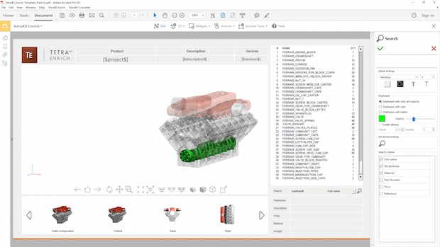 A new feature introduced in the 2017 edition of Tetra4D enables document authors to insert a search function inside 3D PDF documents that end users can employ to locate 3D information. Image courtesy of Tech Soft 3D.