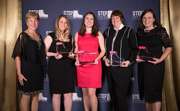 Women in Manufacturing (Left to right): STEP Ahead Chair and BASF SVP Intermediates, Heidi Alderman, poses with honorees Ashley Thompson, Laura Fisher, Debbie Dalley, and Regina Molisee, who were recognized for their extraordinary industry achievements through The Manufacturing Institute's 2017 STEP Ahead Awards.