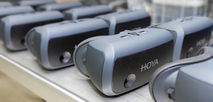 Additive manufacturing provided the design flexibility needed for HOYA's Vision Simulator, which enables the end-user to experience the vision they will have with their new HOYA lenses. Image courtesy of Materialise.